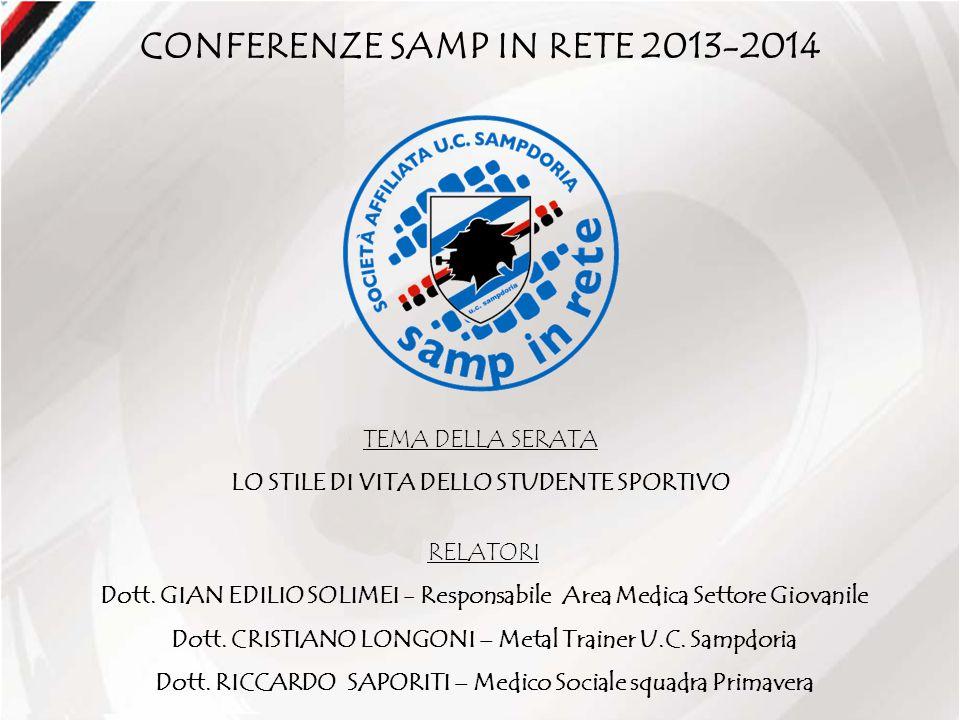 CONFERENZE SAMP IN RETE 2013-2014 TEMA DELLA SERATA LO STILE DI VITA DELLO STUDENTE SPORTIVO RELATORI Dott.