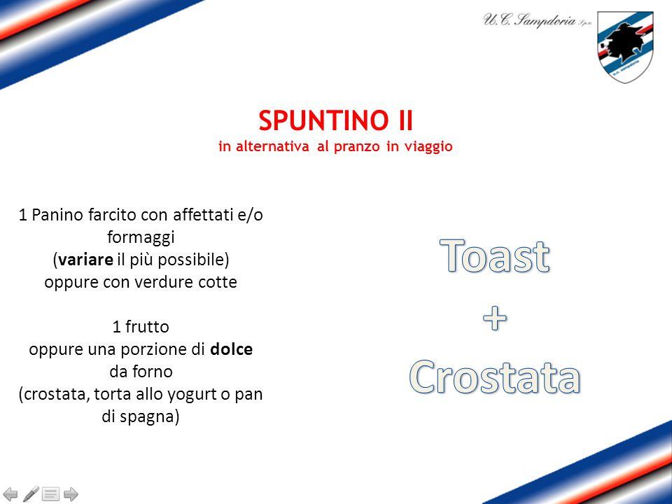 SPUNTINO II in alternativa al pranzo in viaggio 1 Panino farcito con affettati e/o formaggi (variare il più possibile) oppure con verdure cotte 1 frut