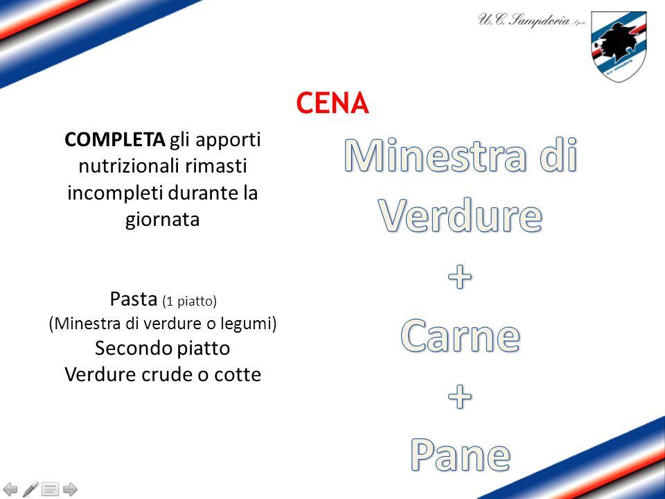CENA COMPLETA gli apporti nutrizionali rimasti incompleti durante la giornata Pasta (1 piatto) (Minestra di verdure o legumi) Secondo piatto Verdure crude o cotte
