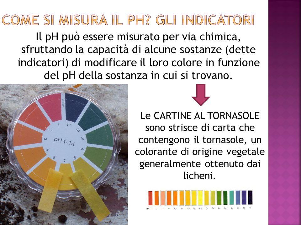 Il pH può essere misurato per via chimica, sfruttando la capacità di alcune sostanze (dette indicatori) di modificare il loro colore in funzione del p