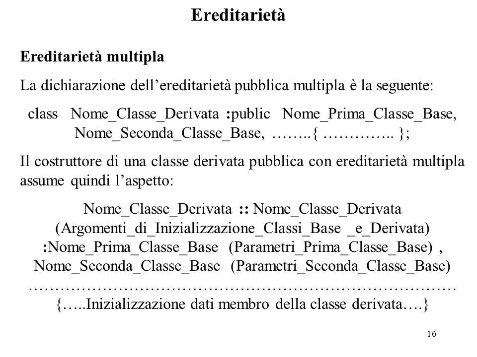 16 Ereditarietà Ereditarietà multipla La dichiarazione dell'ereditarietà pubblica multipla è la seguente: class Nome_Classe_Derivata :public Nome_Prima_Classe_Base, Nome_Seconda_Classe_Base, ……..{ …………..