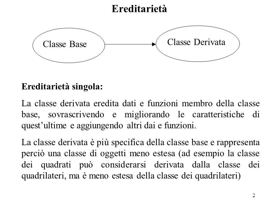 2 Classe Base Classe Derivata Ereditarietà singola: La classe derivata eredita dati e funzioni membro della classe base, sovrascrivendo e migliorando le caratteristiche di quest'ultime e aggiungendo altri dai e funzioni.