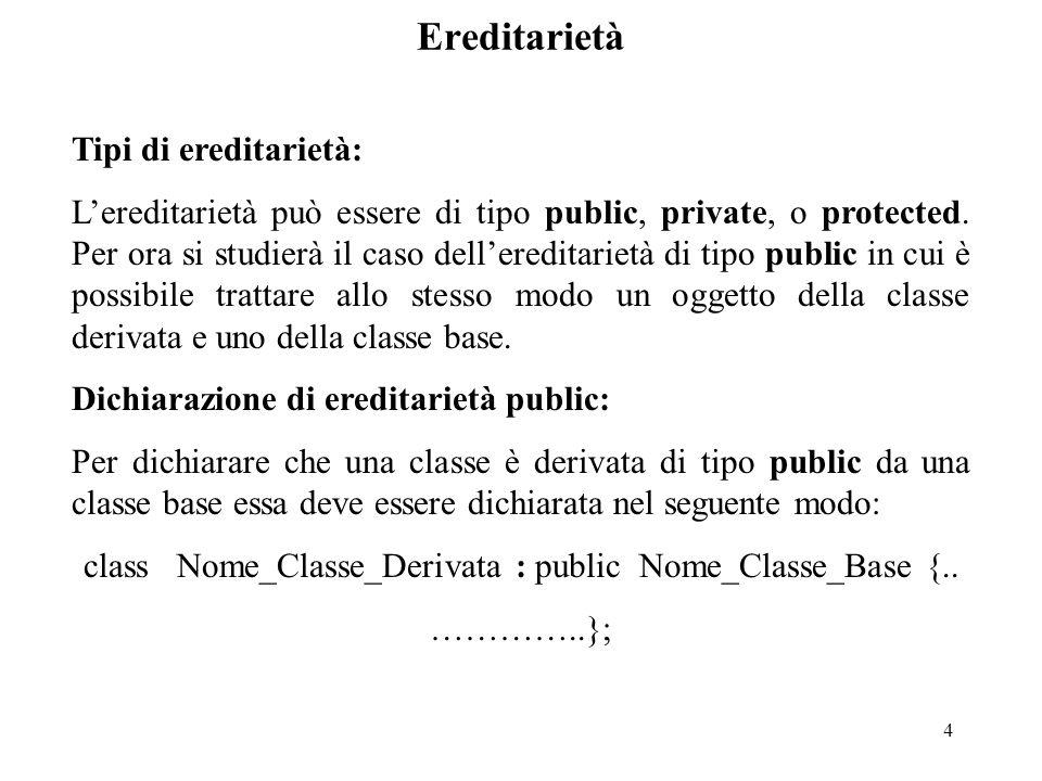 4 Ereditarietà Tipi di ereditarietà: L'ereditarietà può essere di tipo public, private, o protected.