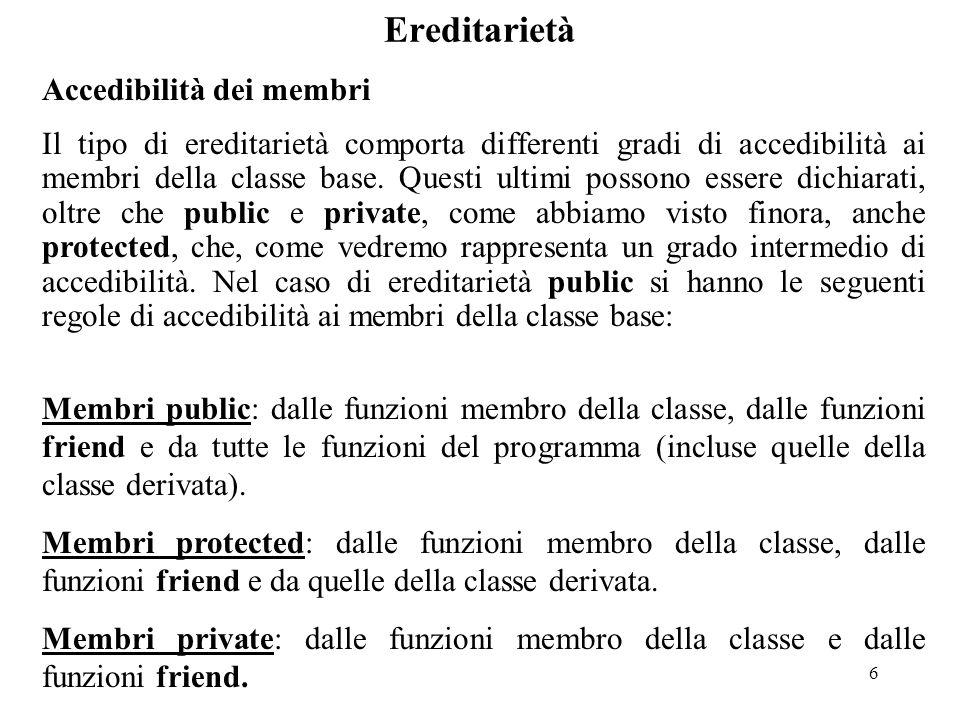 6 Ereditarietà Accedibilità dei membri Il tipo di ereditarietà comporta differenti gradi di accedibilità ai membri della classe base.