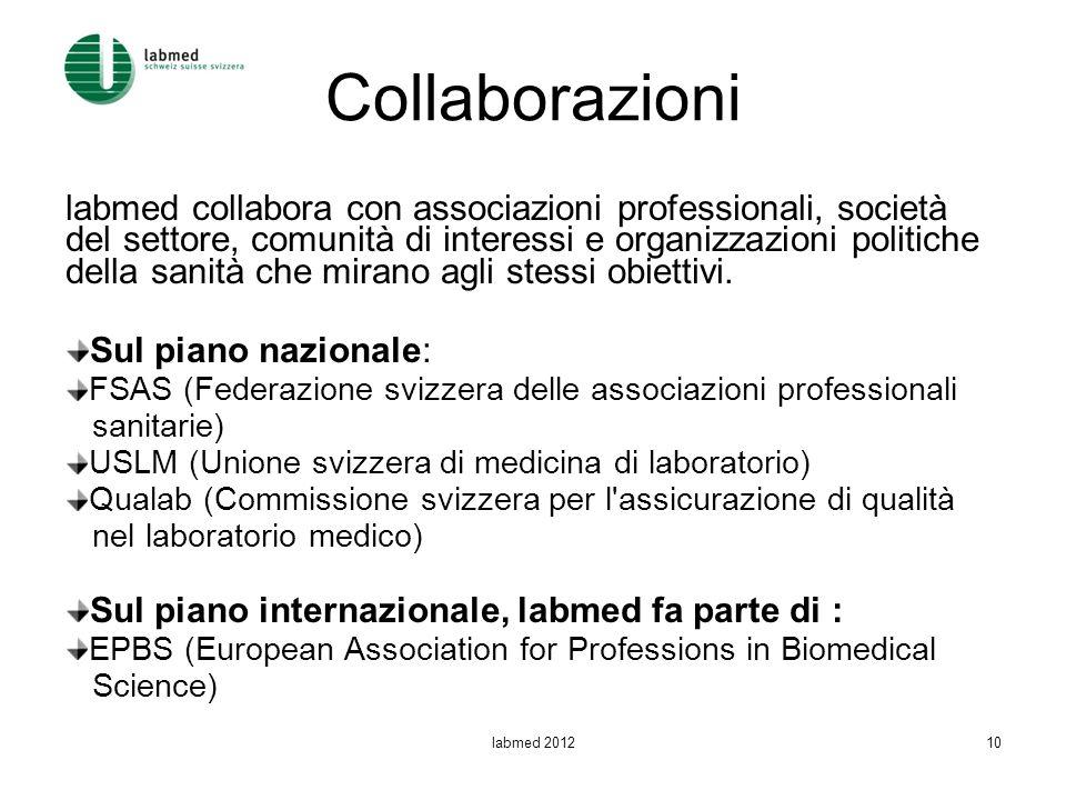 Collaborazioni labmed collabora con associazioni professionali, società del settore, comunità di interessi e organizzazioni politiche della sanità che