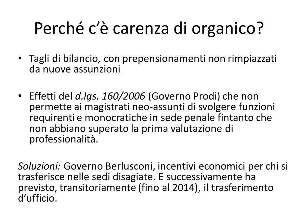 Perché c'è carenza di organico? Tagli di bilancio, con prepensionamenti non rimpiazzati da nuove assunzioni Effetti del d.lgs. 160/2006 (Governo Prodi