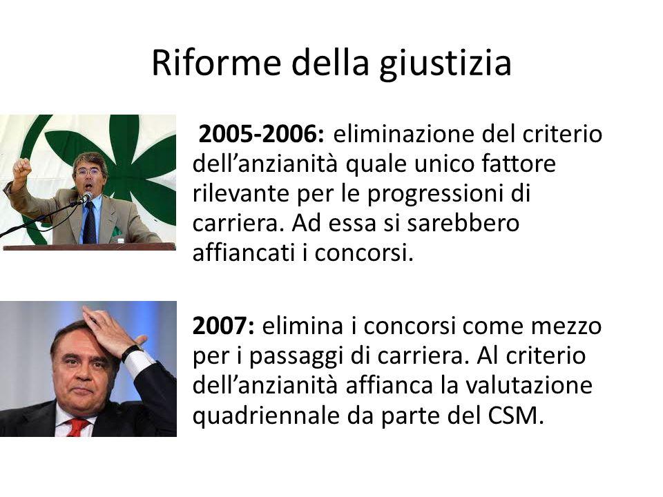 Riforme della giustizia 2005-2006: eliminazione del criterio dell'anzianità quale unico fattore rilevante per le progressioni di carriera. Ad essa si