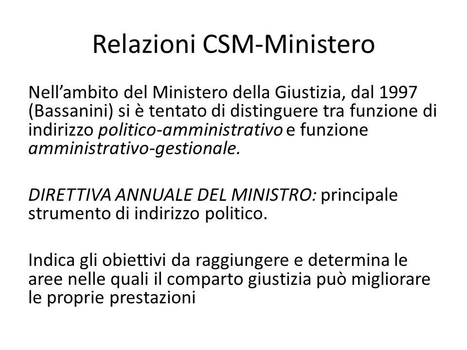 Relazioni CSM-Ministero Nell'ambito del Ministero della Giustizia, dal 1997 (Bassanini) si è tentato di distinguere tra funzione di indirizzo politico