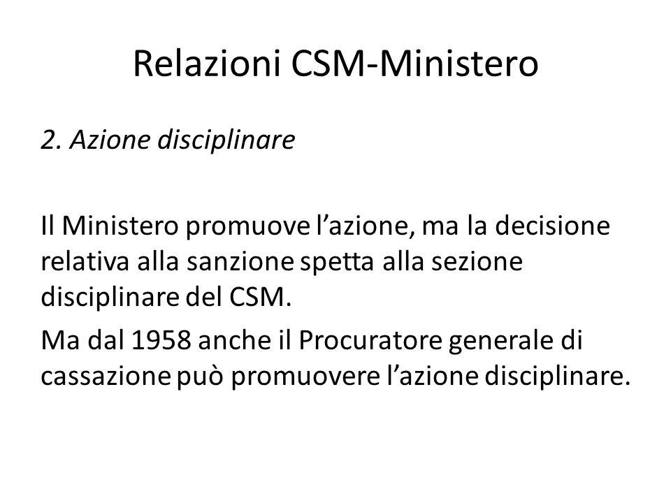 Relazioni CSM-Ministero 2. Azione disciplinare Il Ministero promuove l'azione, ma la decisione relativa alla sanzione spetta alla sezione disciplinare