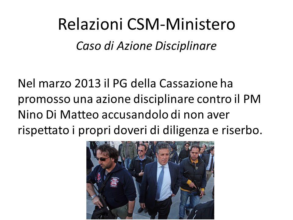 Relazioni CSM-Ministero Caso di Azione Disciplinare Nel marzo 2013 il PG della Cassazione ha promosso una azione disciplinare contro il PM Nino Di Mat