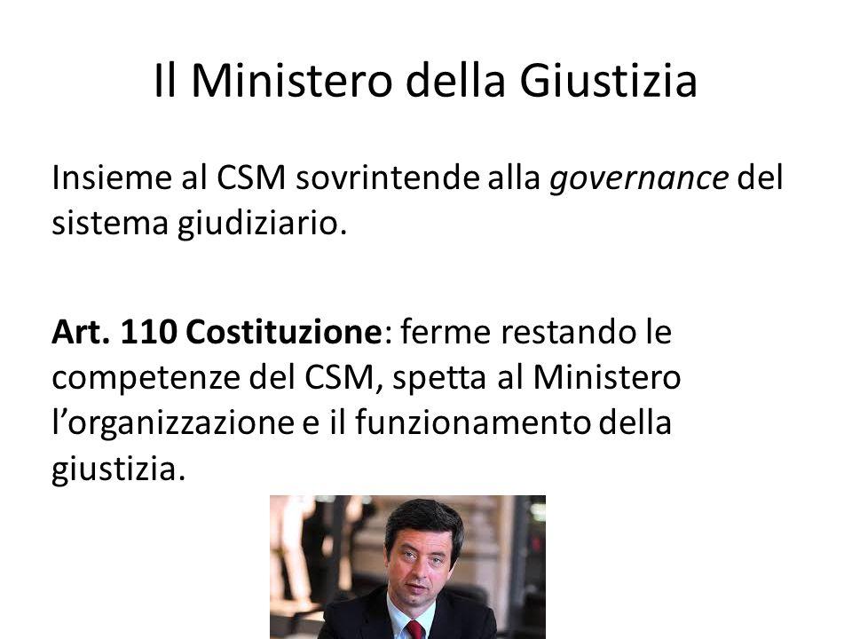 Il Ministero della Giustizia Insieme al CSM sovrintende alla governance del sistema giudiziario. Art. 110 Costituzione: ferme restando le competenze d