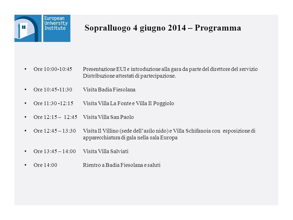 11 Sopralluogo 4 giugno 2014 – Programma Ore 10:00-10:45 Presentazione EUI e introduzione alla gara da parte del direttore del servizio Distribuzione