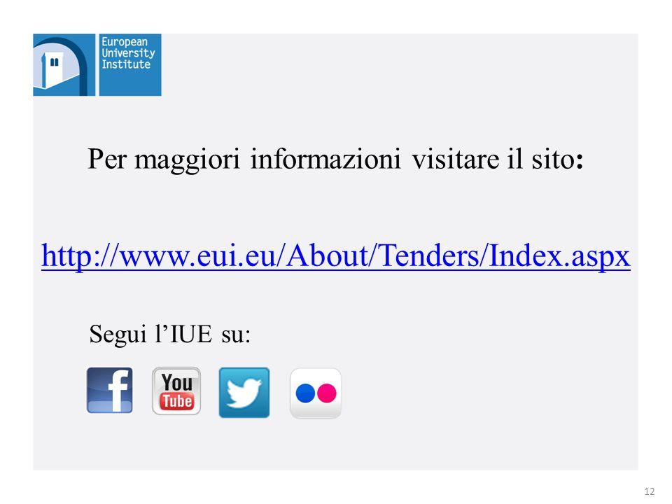 http://www.eui.eu/About/Tenders/Index.aspx Per maggiori informazioni visitare il sito: 12 Segui l'IUE su: