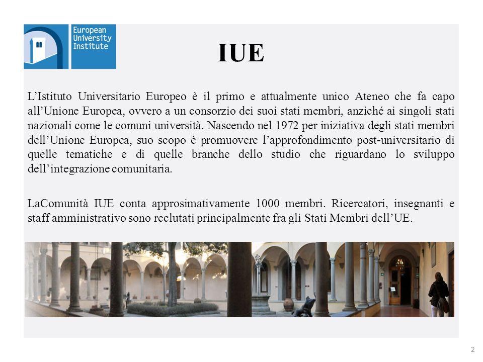 IUE L'Istituto Universitario Europeo è il primo e attualmente unico Ateneo che fa capo all'Unione Europea, ovvero a un consorzio dei suoi stati membri