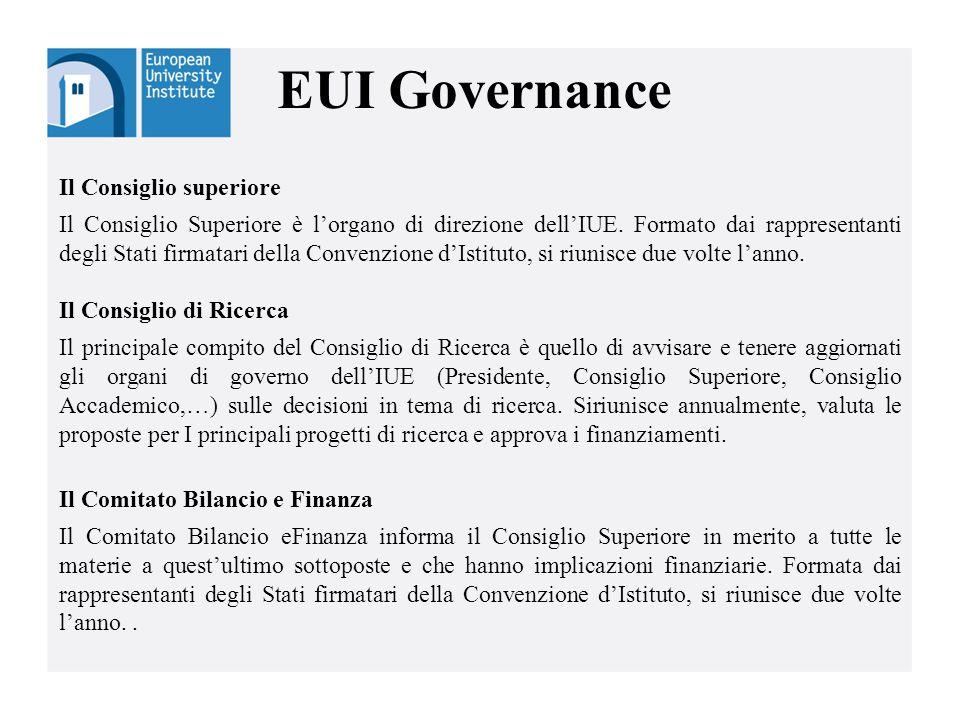 EUI Governance Il Consiglio superiore Il Consiglio Superiore è l'organo di direzione dell'IUE. Formato dai rappresentanti degli Stati firmatari della