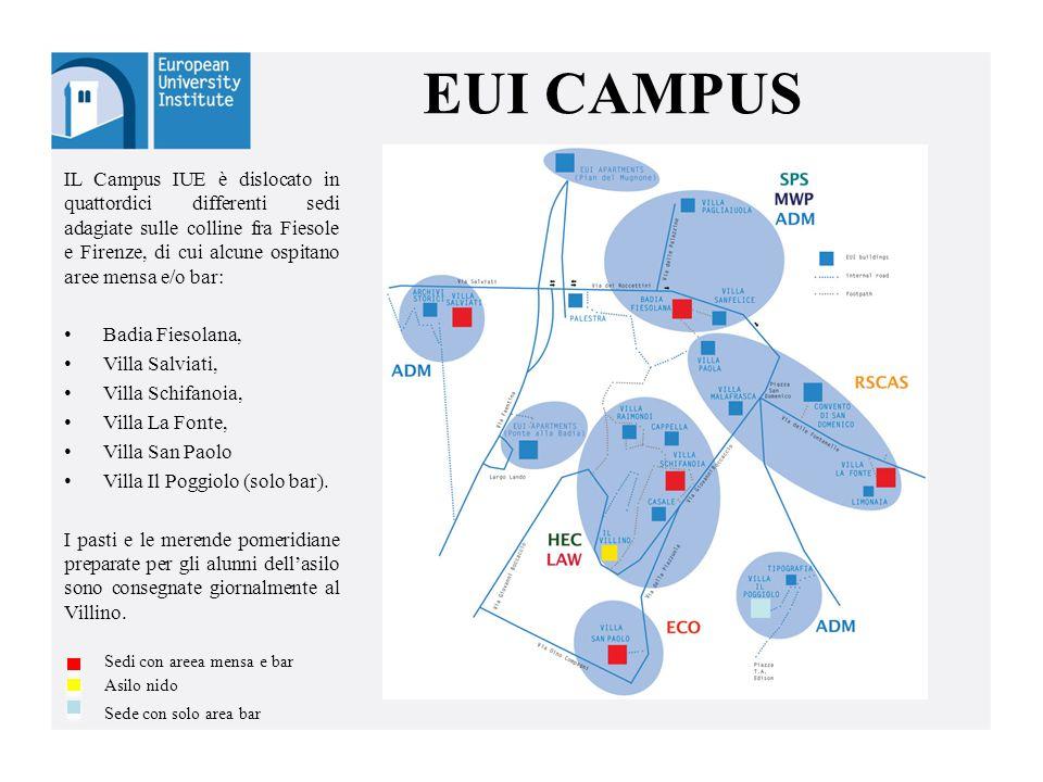 EUI CAMPUS IL Campus IUE è dislocato in quattordici differenti sedi adagiate sulle colline fra Fiesole e Firenze, di cui alcune ospitano aree mensa e/