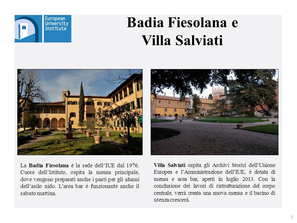 Badia Fiesolana e Villa Salviati La Badia Fiesolana è la sede dell'IUE dal 1976. Cuore dell'Istituto, ospita la mensa principale, dove vengono prepara