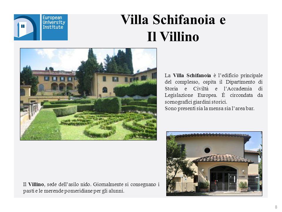 La Villa Schifanoia è l'edificio principale del complesso, ospita il Dipartimento di Storia e Civiltà e l'Accademia di Legislazione Europea. È circond