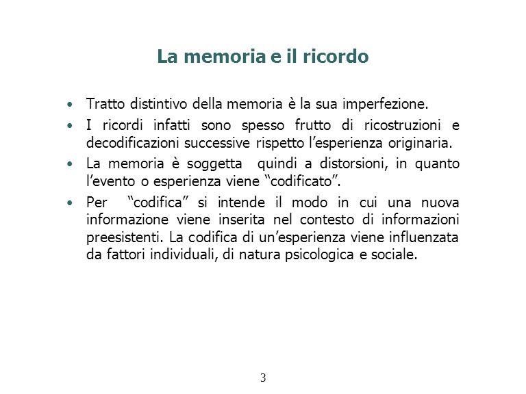 La memoria e il ricordo Tratto distintivo della memoria è la sua imperfezione. I ricordi infatti sono spesso frutto di ricostruzioni e decodificazioni
