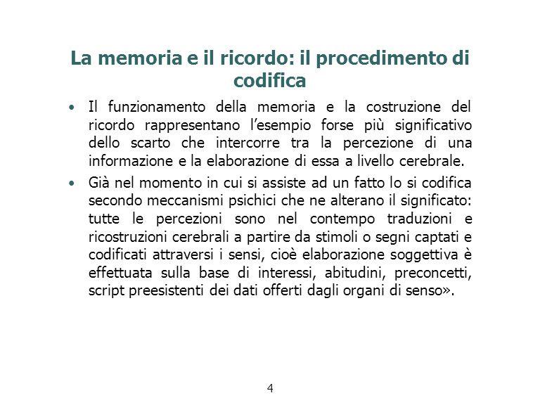 La memoria e il ricordo: il procedimento di codifica Il funzionamento della memoria e la costruzione del ricordo rappresentano l'esempio forse più sig
