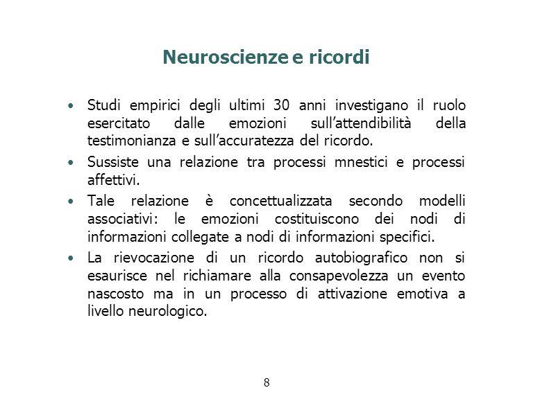 Neuroscienze e ricordi Studi empirici degli ultimi 30 anni investigano il ruolo esercitato dalle emozioni sull'attendibilità della testimonianza e sul