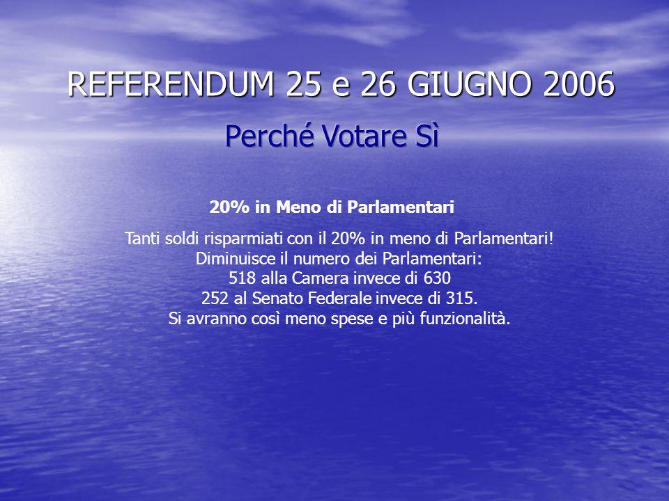 REFERENDUM 25 e 26 GIUGNO 2006 I cittadini controlleranno di più i politici, che dovranno essere necessariamente più responsabili. Le Regioni potranno