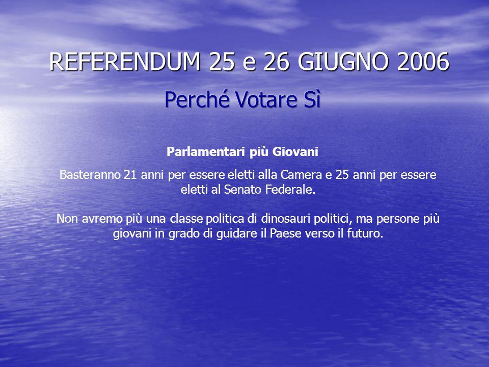 REFERENDUM 25 e 26 GIUGNO 2006 Tanti soldi risparmiati con il 20% in meno di Parlamentari.