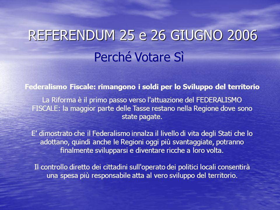 REFERENDUM 25 e 26 GIUGNO 2006 La Devoluzione semplificherà i rapporti tra Enti Locali e Stato, consentirà di ridurre le ingenti spese della Burocrazi