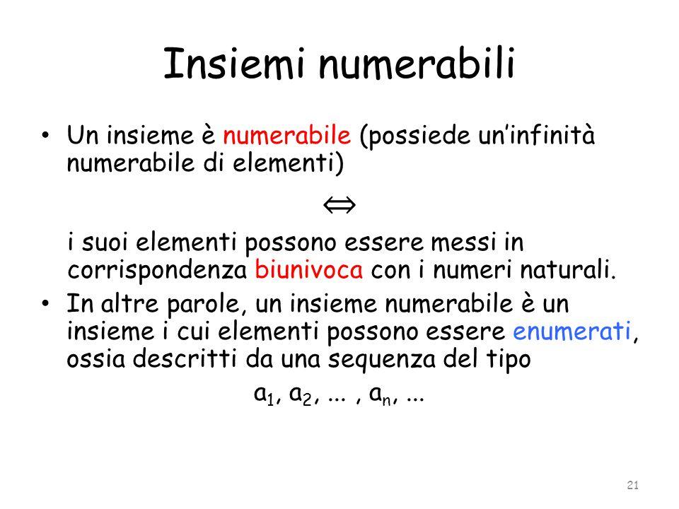 Insiemi numerabili Un insieme è numerabile (possiede un'infinità numerabile di elementi) ⇔ i suoi elementi possono essere messi in corrispondenza biun