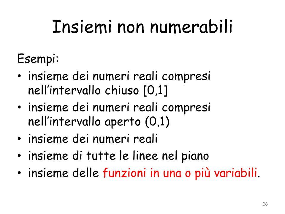 Insiemi non numerabili Esempi: insieme dei numeri reali compresi nell'intervallo chiuso [0,1] insieme dei numeri reali compresi nell'intervallo aperto