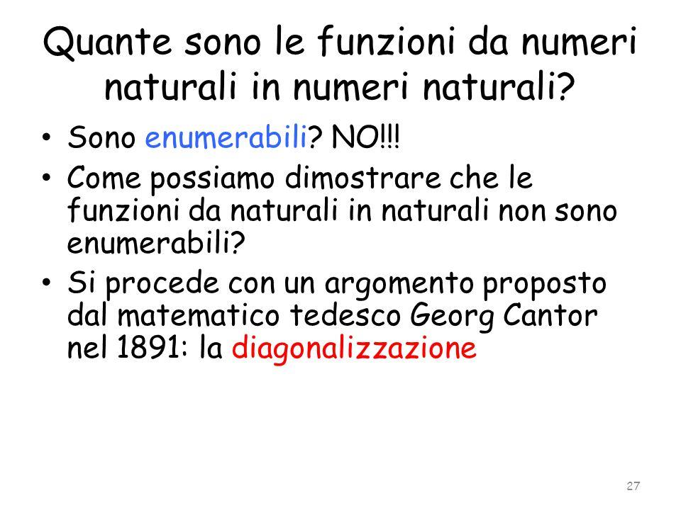 Quante sono le funzioni da numeri naturali in numeri naturali? Sono enumerabili? NO!!! Come possiamo dimostrare che le funzioni da naturali in natural