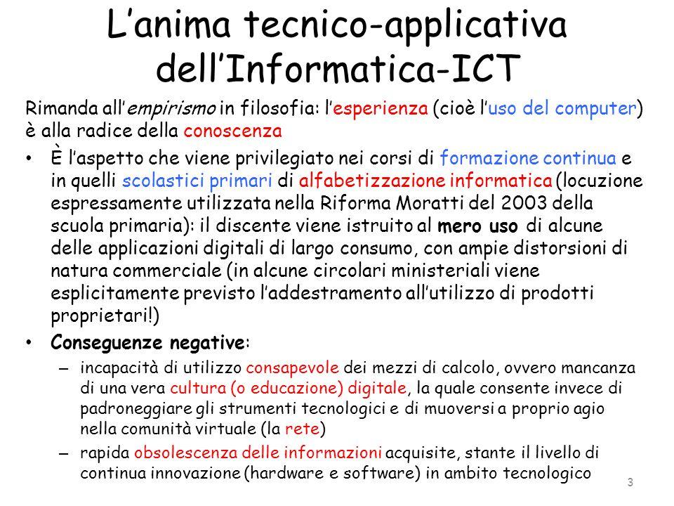 L'anima tecnico-applicativa dell'Informatica-ICT Rimanda all'empirismo in filosofia: l'esperienza (cioè l'uso del computer) è alla radice della conosc