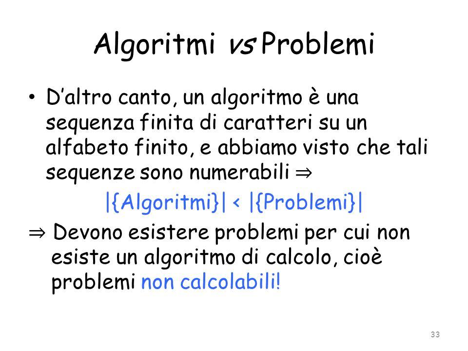 Algoritmi vs Problemi D'altro canto, un algoritmo è una sequenza finita di caratteri su un alfabeto finito, e abbiamo visto che tali sequenze sono num