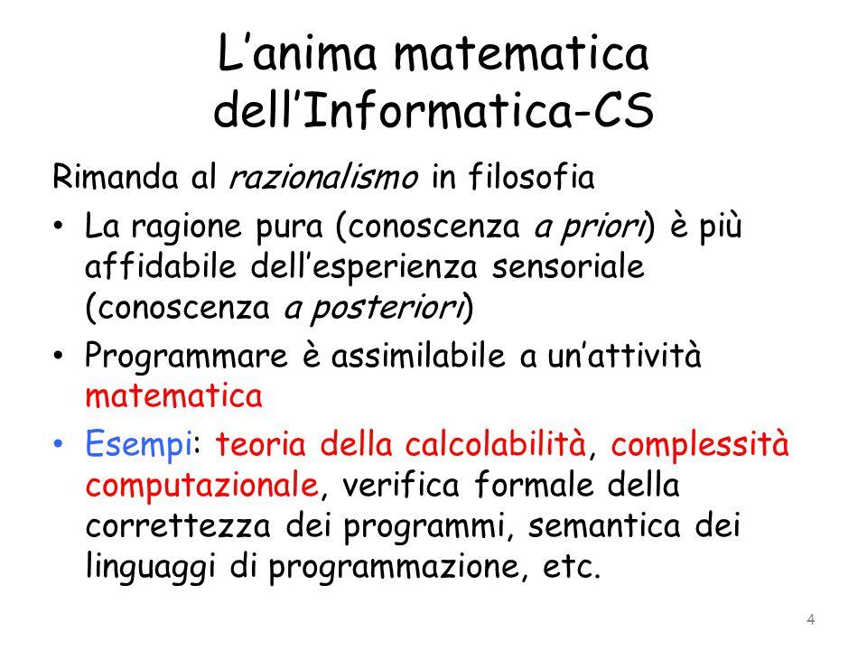 L'anima matematica dell'Informatica-CS Rimanda al razionalismo in filosofia La ragione pura (conoscenza a priori) è più affidabile dell'esperienza sen