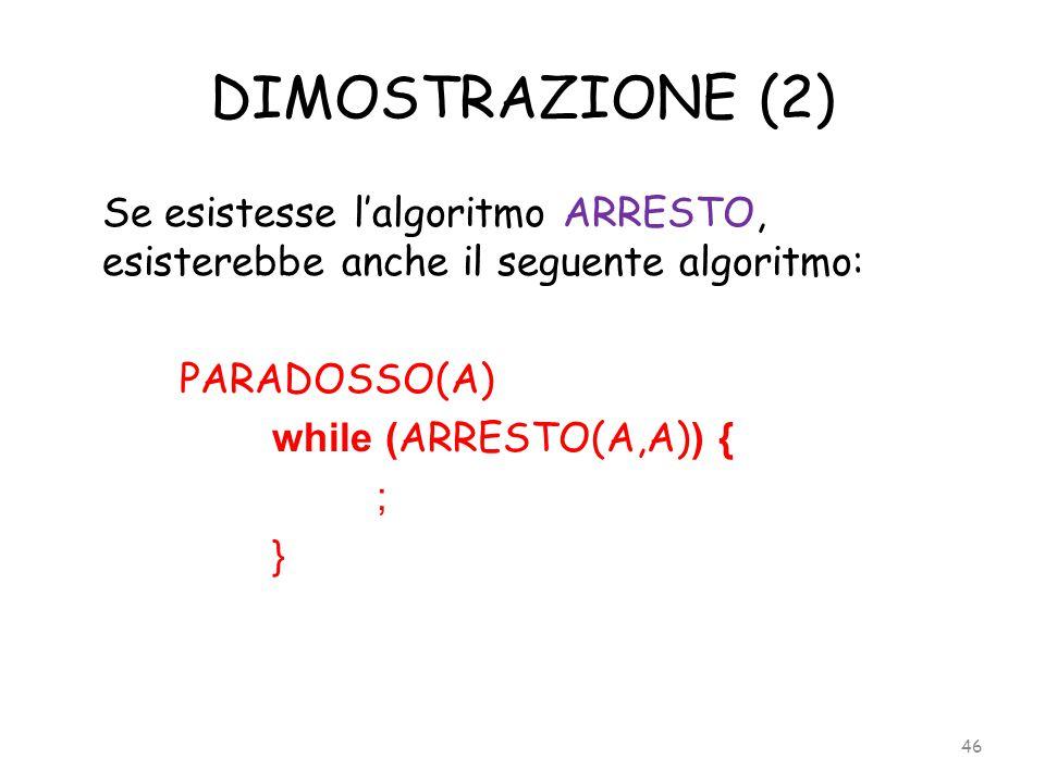 DIMOSTRAZIONE (2) Se esistesse l'algoritmo ARRESTO, esisterebbe anche il seguente algoritmo: PARADOSSO(A) while ( ARRESTO(A,A) ) { ; } 46