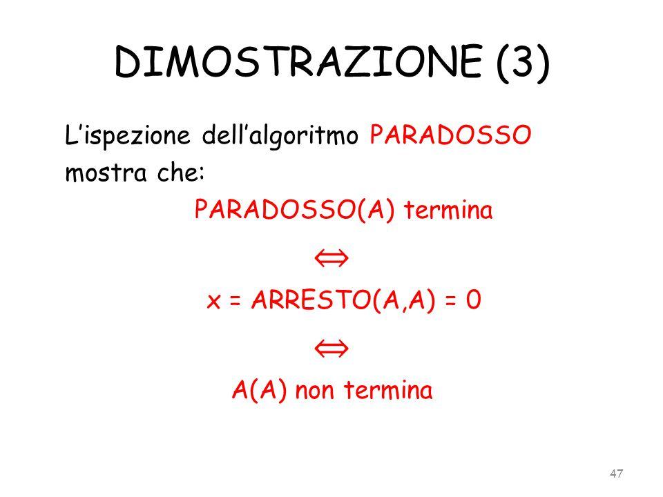 DIMOSTRAZIONE (3) L'ispezione dell'algoritmo PARADOSSO mostra che: PARADOSSO(A) termina ⇔ x = ARRESTO(A,A) = 0 ⇔ A(A) non termina 47