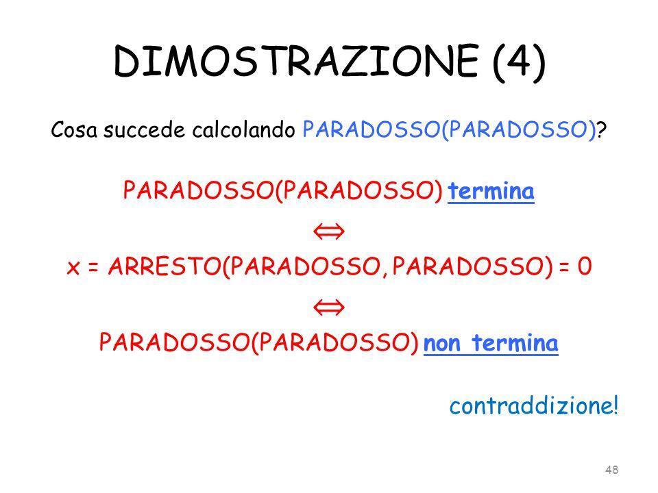 DIMOSTRAZIONE (4) Cosa succede calcolando PARADOSSO(PARADOSSO)? PARADOSSO(PARADOSSO) termina ⇔ x = ARRESTO(PARADOSSO, PARADOSSO) = 0 ⇔ PARADOSSO(PARAD