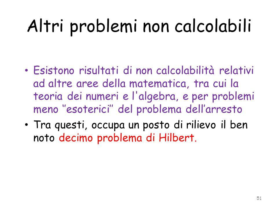 Altri problemi non calcolabili Esistono risultati di non calcolabilità relativi ad altre aree della matematica, tra cui la teoria dei numeri e l'algeb