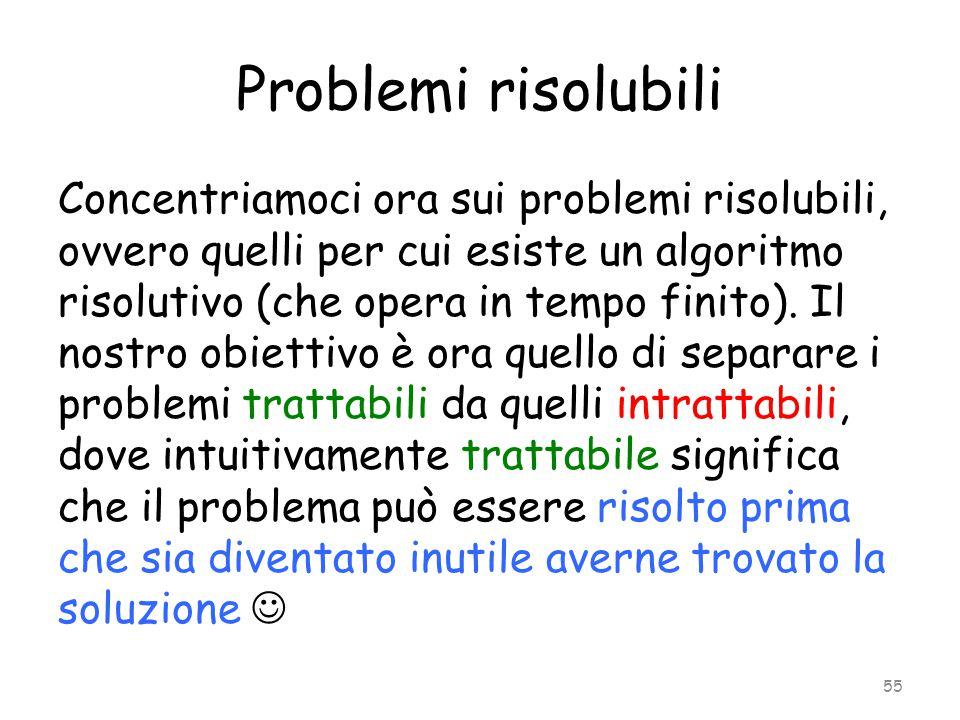 Problemi risolubili Concentriamoci ora sui problemi risolubili, ovvero quelli per cui esiste un algoritmo risolutivo (che opera in tempo finito). Il n