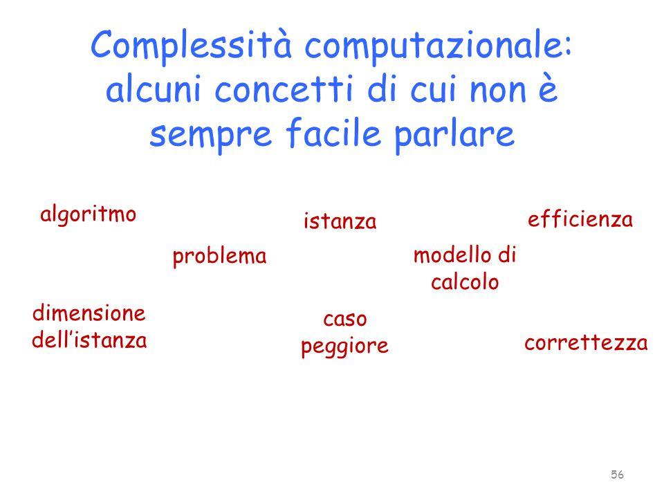 Complessità computazionale: alcuni concetti di cui non è sempre facile parlare algoritmo problema istanza modello di calcolo dimensione dell'istanza c