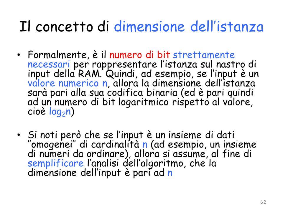 Il concetto di dimensione dell'istanza Formalmente, è il numero di bit strettamente necessari per rappresentare l'istanza sul nastro di input della RA