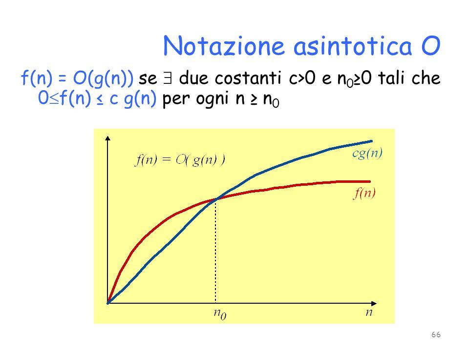 f(n) = O(g(n)) se  due costanti c>0 e n 0 ≥0 tali che 0  f(n) ≤ c g(n) per ogni n ≥ n 0 Notazione asintotica O 66