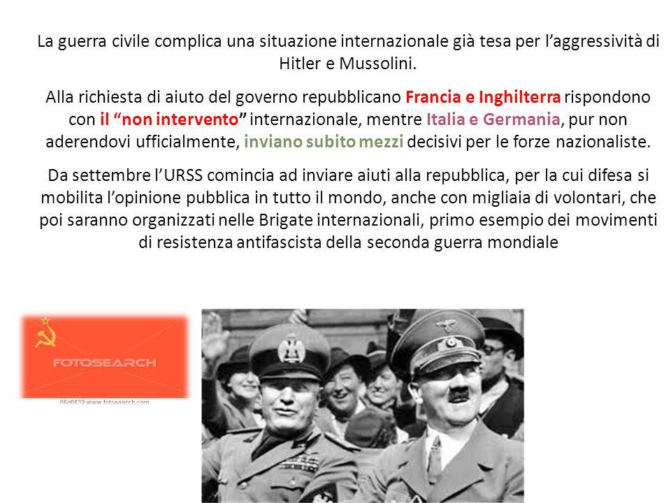 La guerra civile complica una situazione internazionale già tesa per l'aggressività di Hitler e Mussolini. Alla richiesta di aiuto del governo repubbl