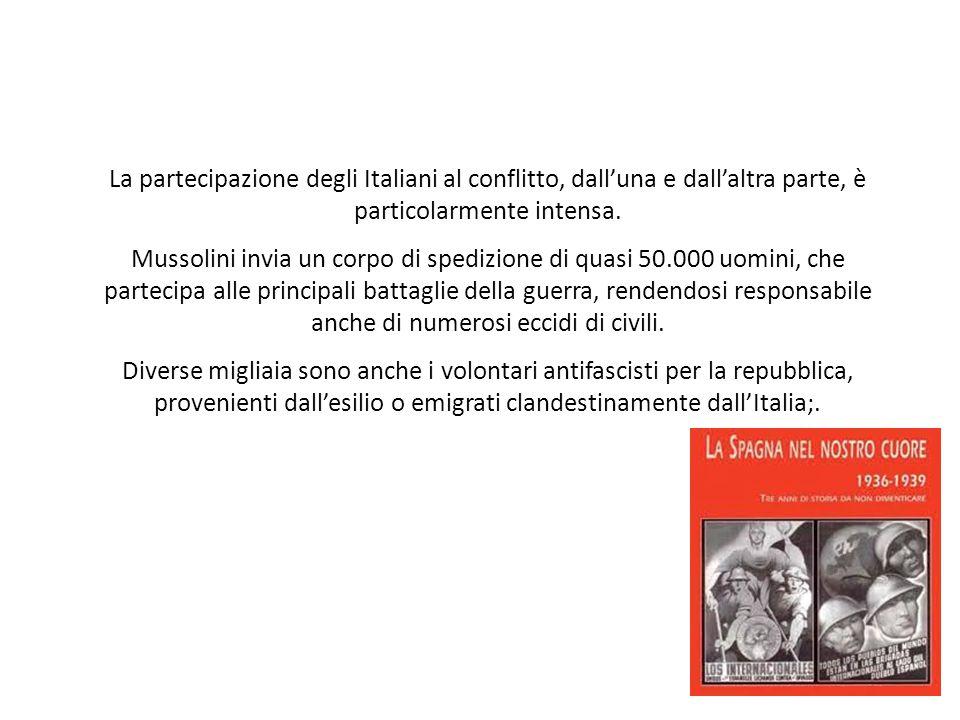 La partecipazione degli Italiani al conflitto, dall'una e dall'altra parte, è particolarmente intensa. Mussolini invia un corpo di spedizione di quasi