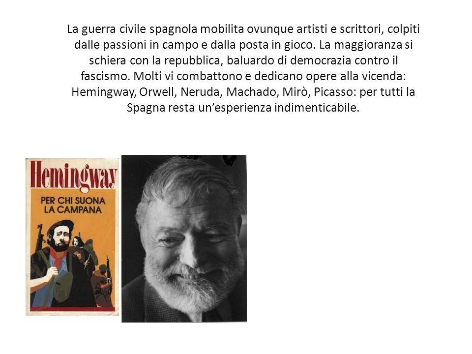 La guerra civile spagnola mobilita ovunque artisti e scrittori, colpiti dalle passioni in campo e dalla posta in gioco. La maggioranza si schiera con