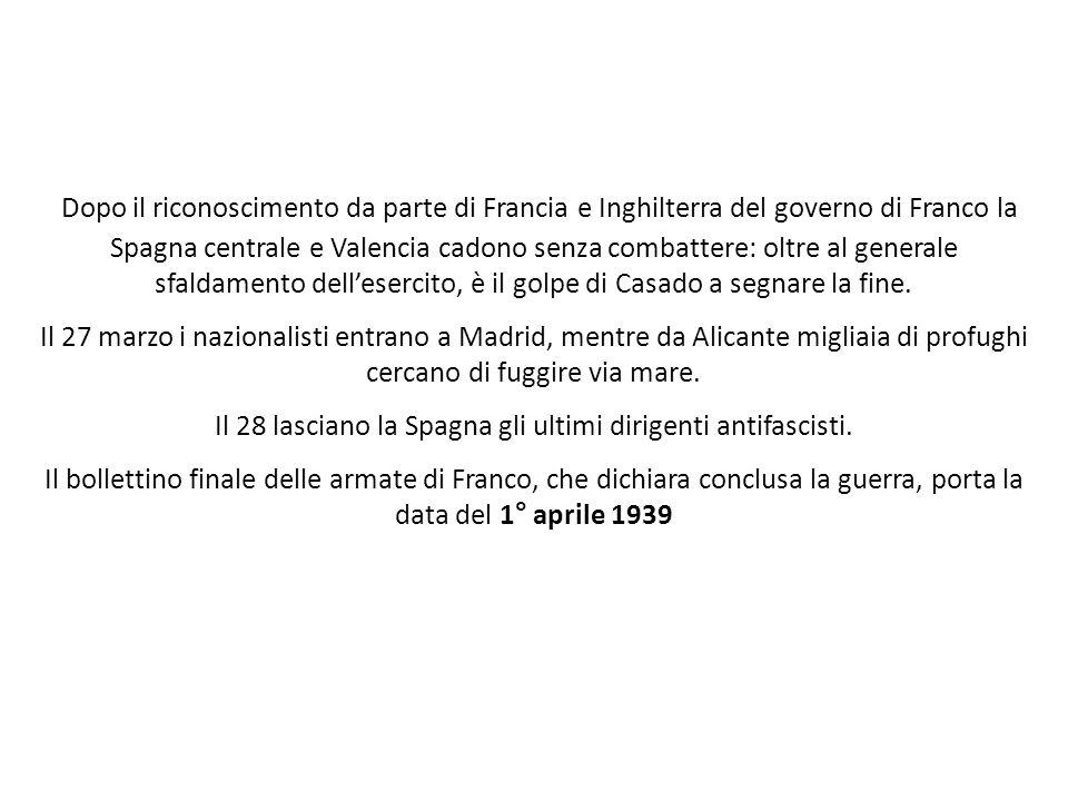 Dopo il riconoscimento da parte di Francia e Inghilterra del governo di Franco la Spagna centrale e Valencia cadono senza combattere: oltre al general