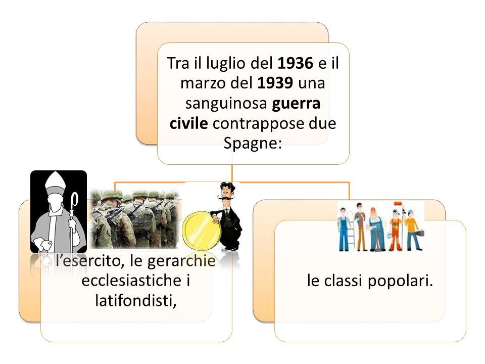 Tra il luglio del 1936 e il marzo del 1939 una sanguinosa guerra civile contrappose due Spagne: l'esercito, le gerarchie ecclesiastiche i latifondisti