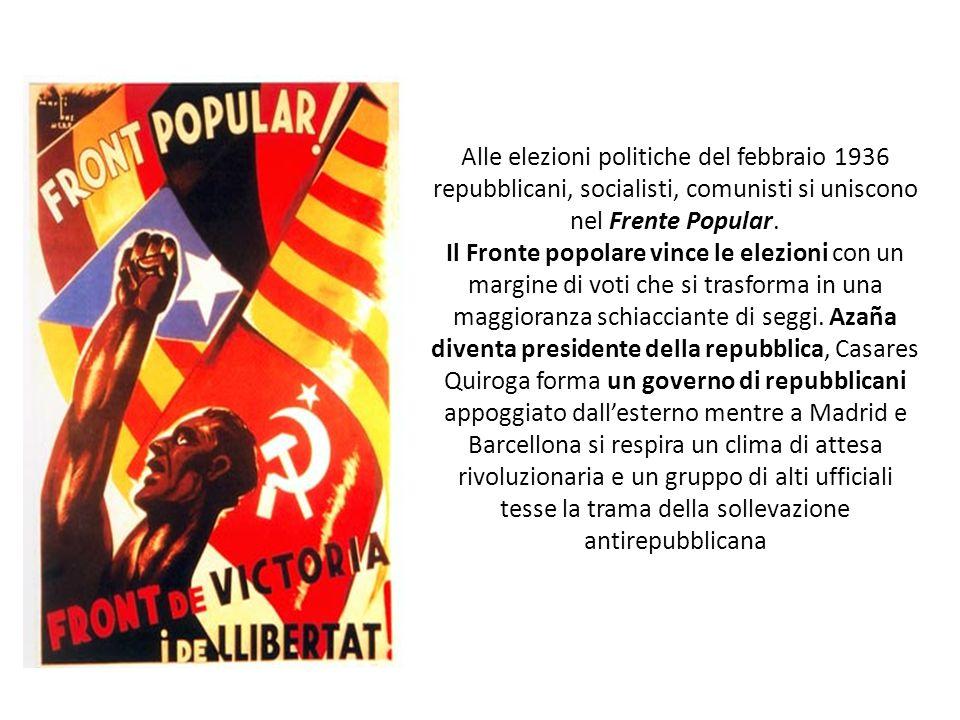 Alle elezioni politiche del febbraio 1936 repubblicani, socialisti, comunisti si uniscono nel Frente Popular. Il Fronte popolare vince le elezioni con