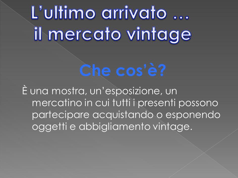 È una mostra, un'esposizione, un mercatino in cui tutti i presenti possono partecipare acquistando o esponendo oggetti e abbigliamento vintage. Che co