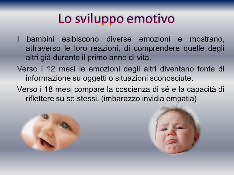 I bambini esibiscono diverse emozioni e mostrano, attraverso le loro reazioni, di comprendere quelle degli altri già durante il primo anno di vita. Ve